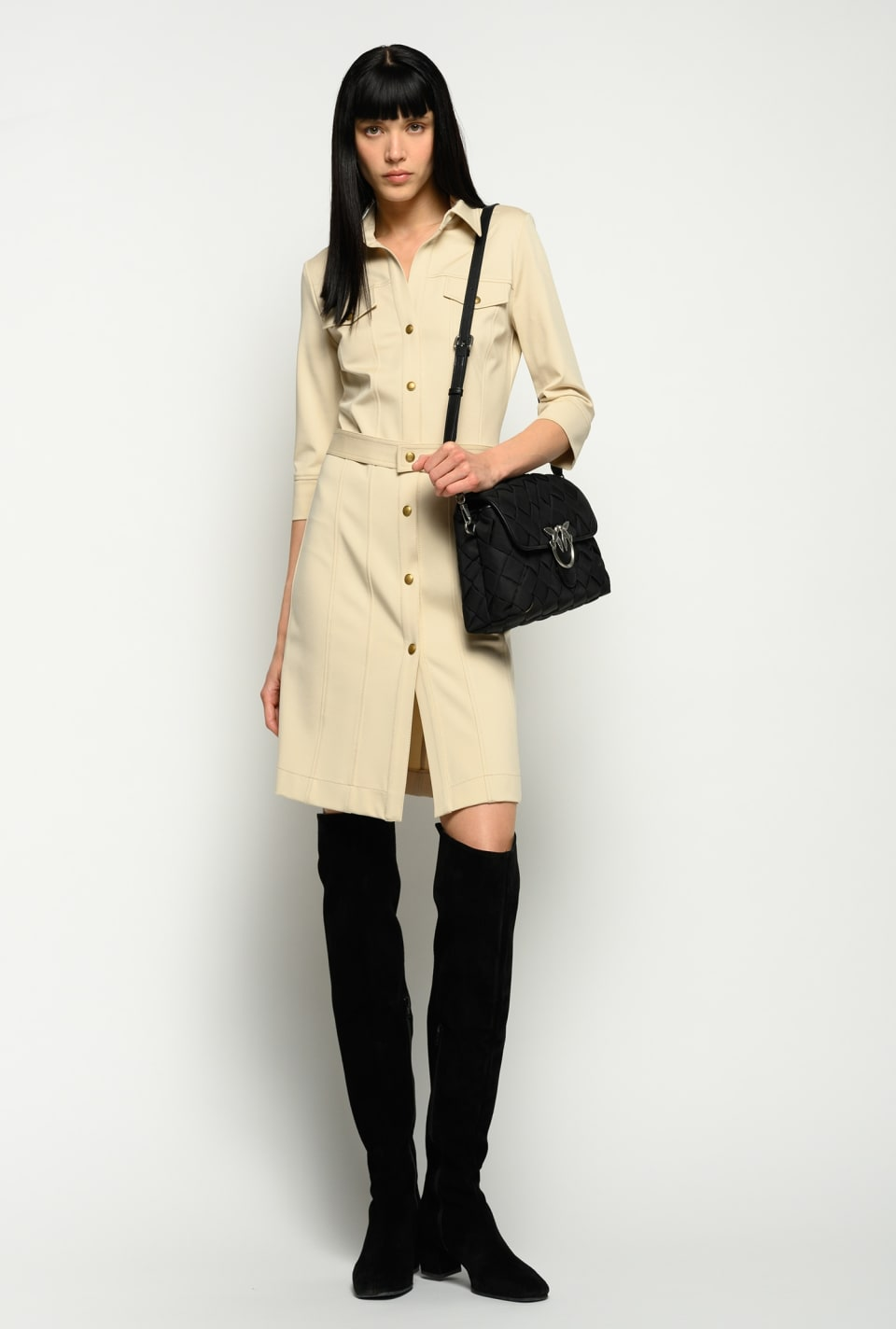Shirt dress with gold tone buttons - Pinko