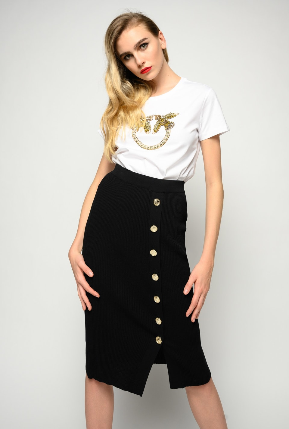 Knit midi skirt with buttons - Pinko