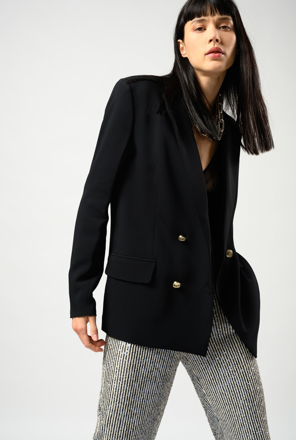 Double-breasted crêpe blazer - Pinko