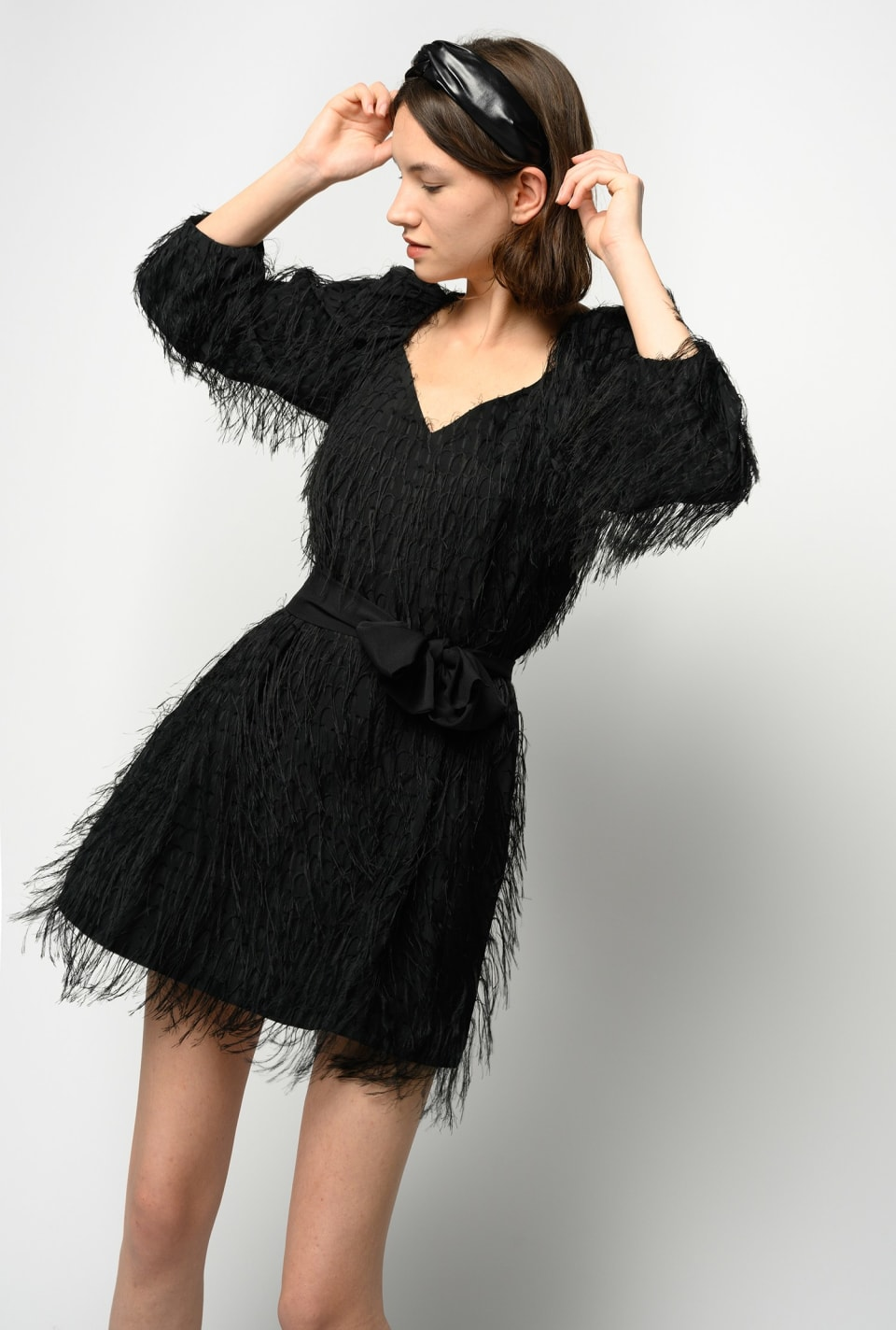 Fil coupé fringed dress - Pinko