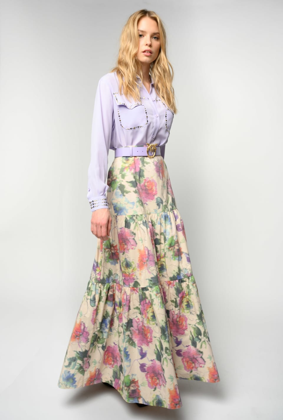 Long skirt in blurred edge floral taffeta - Pinko