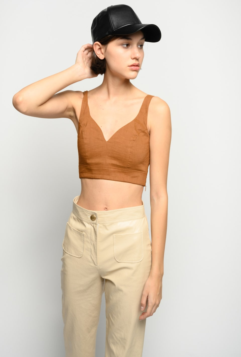 Crop top in linen cloth - Pinko
