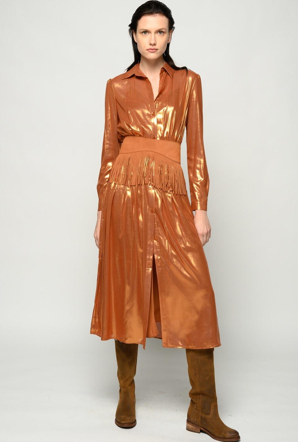 Midi-length lamé shirt dress - Pinko