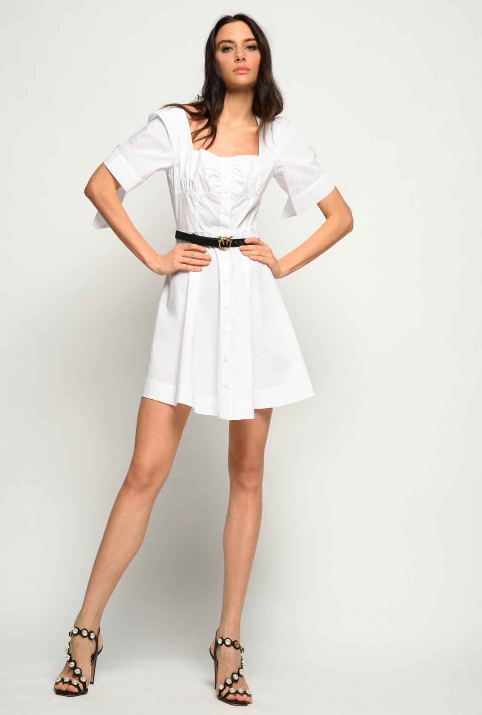Shirt dress with knotted sleeves - Pinko