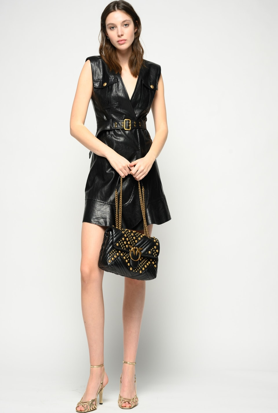 Washed leather-look dress - Pinko