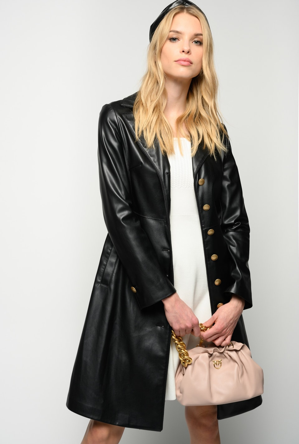 Leather-look fitted jacket - Pinko