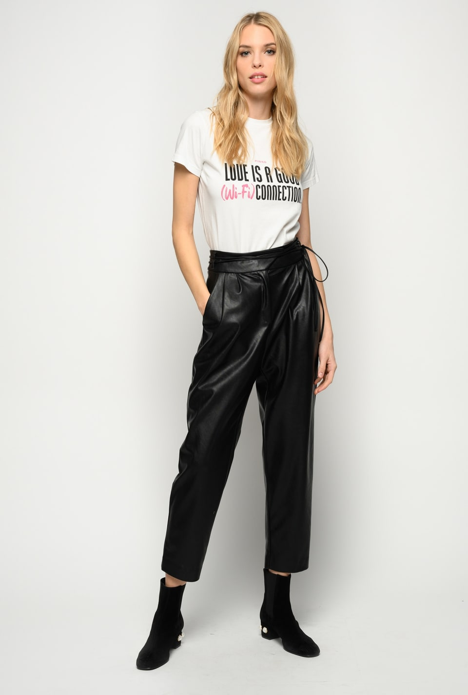 Leather-look trousers with narrow belt - Pinko