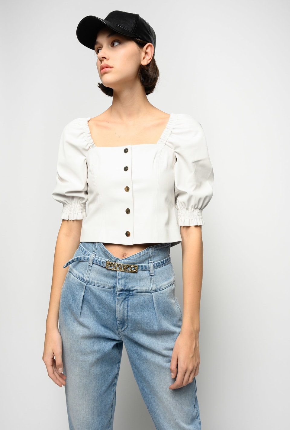 Short leather-look top - Pinko