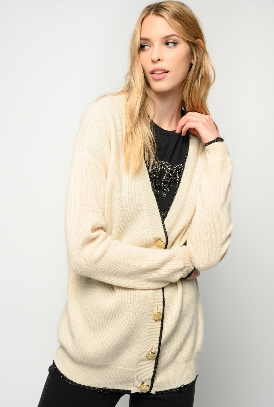 Cardigan with lurex trim - Pinko