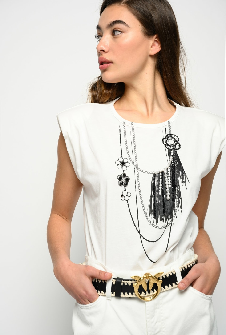 Top with necklace print and pearls - Pinko