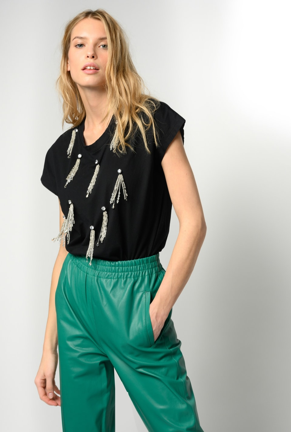 T-shirt with shiny fringing - Pinko