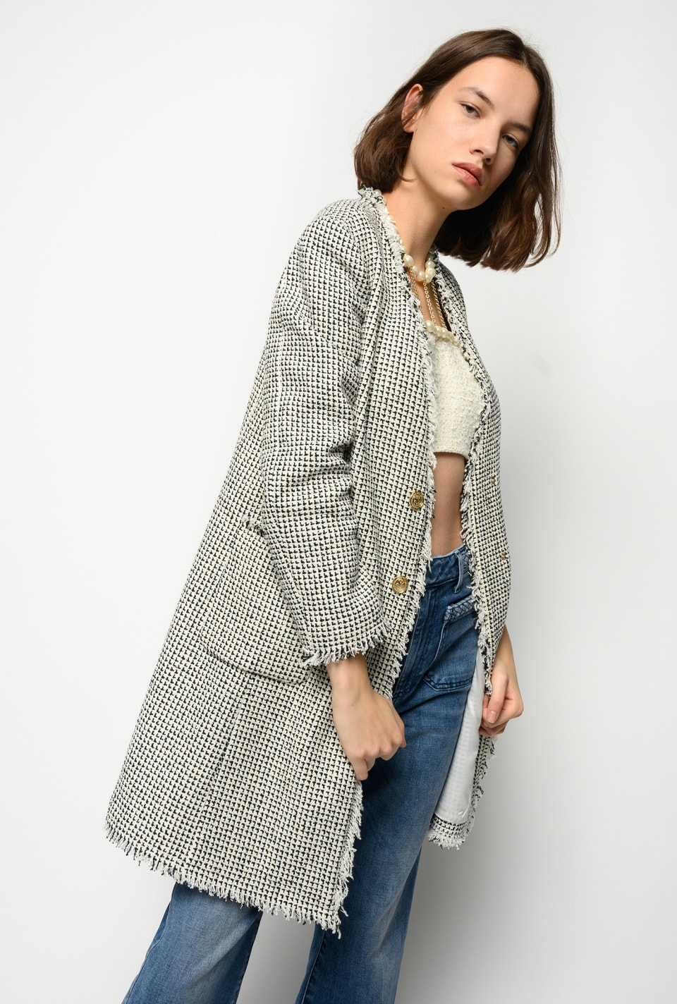 Long patterned tweed jacket - Pinko