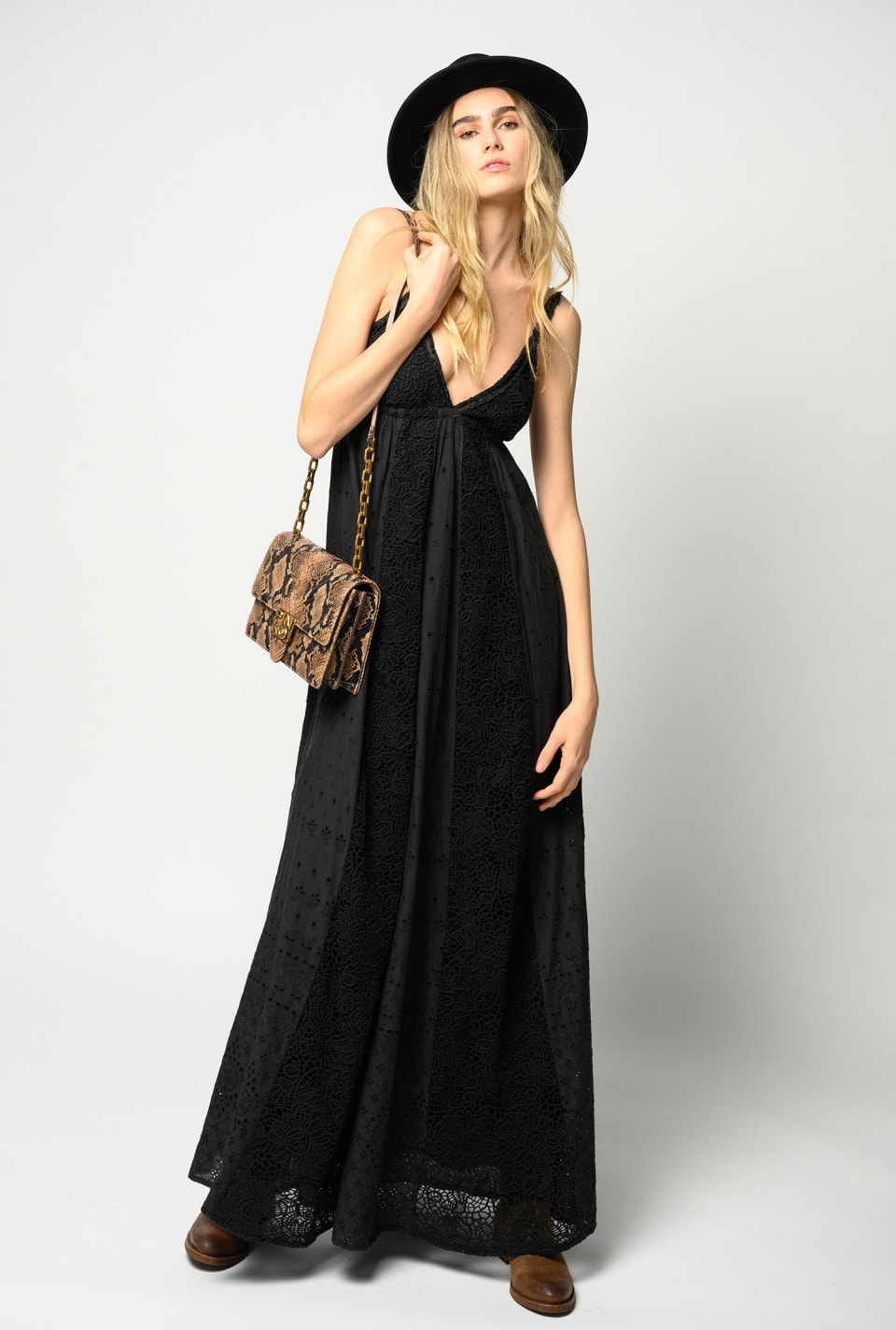 Long dress in broderie anglaise - Pinko