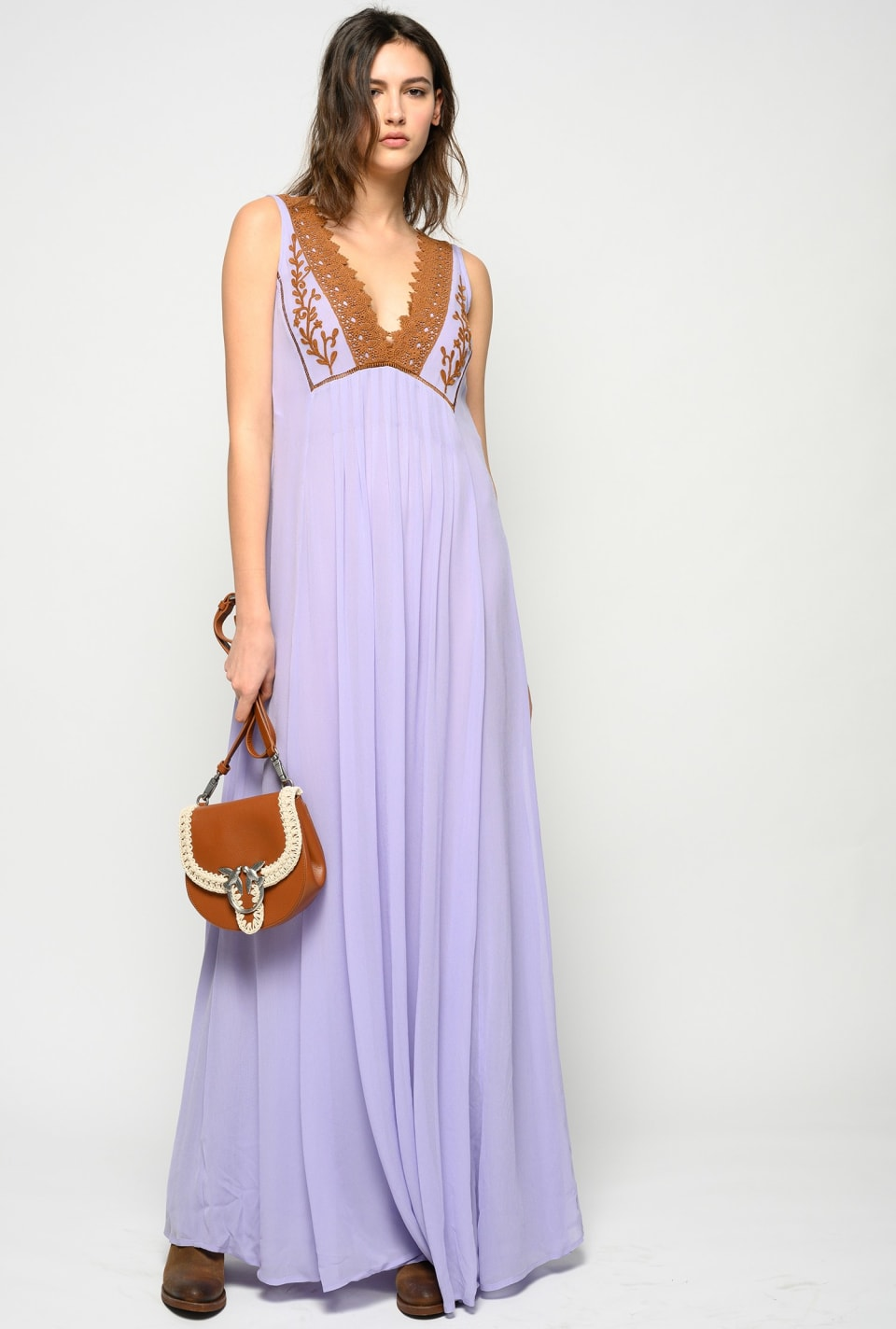 Long dress in embroidered georgette - Pinko