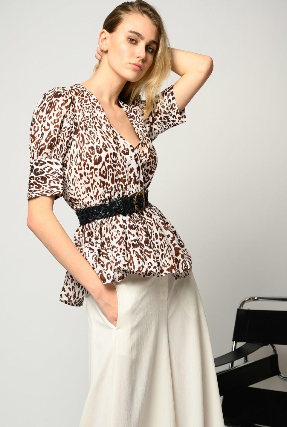 Blouse in leopard-print ramie - Pinko
