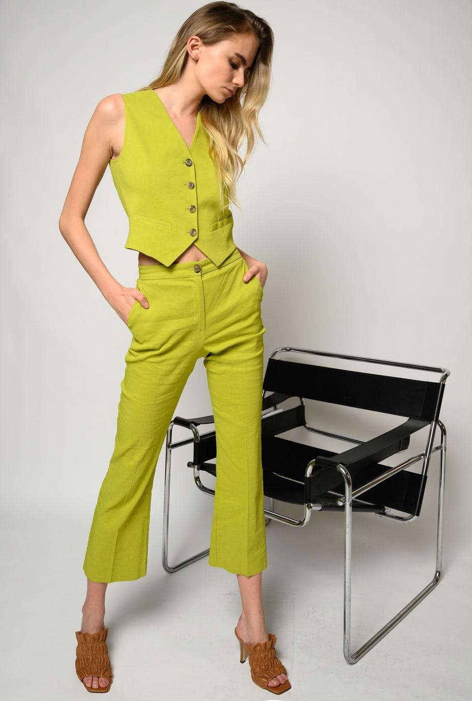 Short waistcoat in linen cloth - Pinko