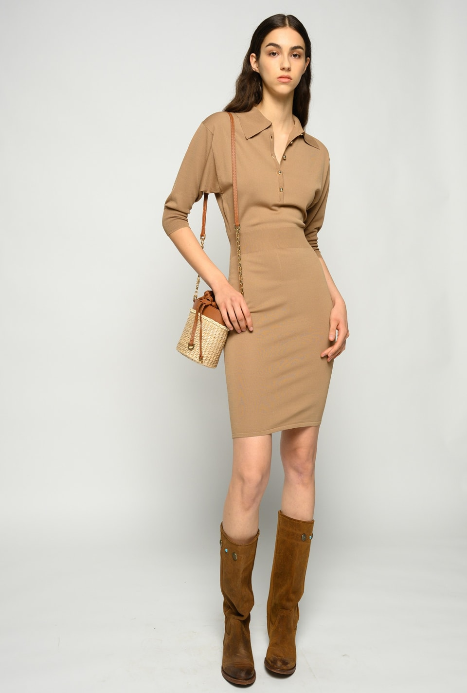 Knitted dress with polo-style collar - Pinko