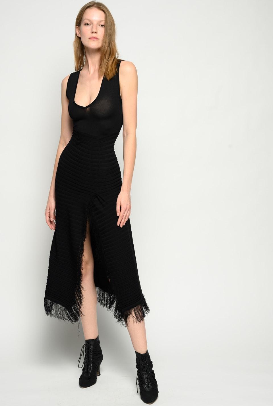 流苏装饰针织长款连衣裙 - Pinko