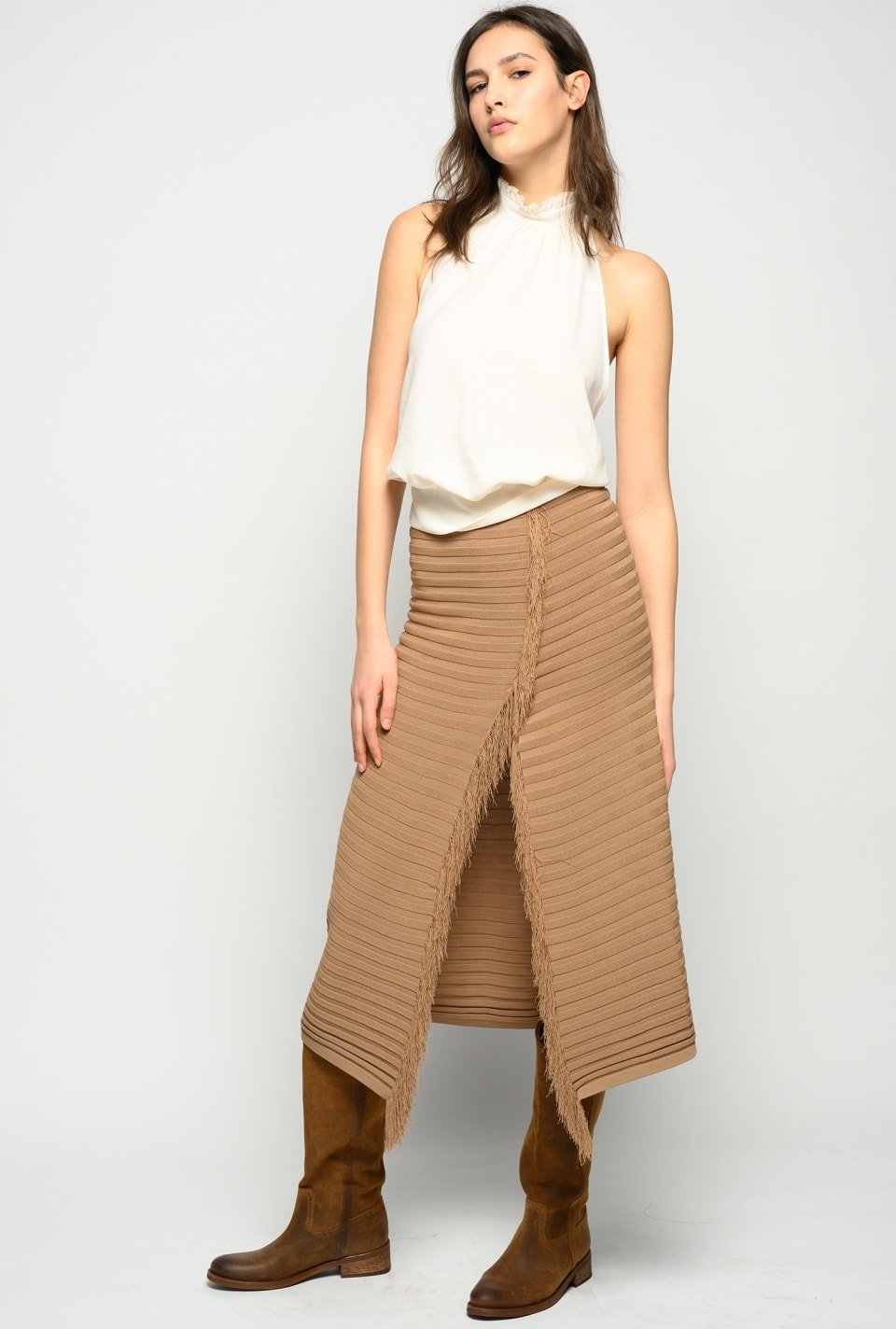 Long knit skirt with fringing - Pinko