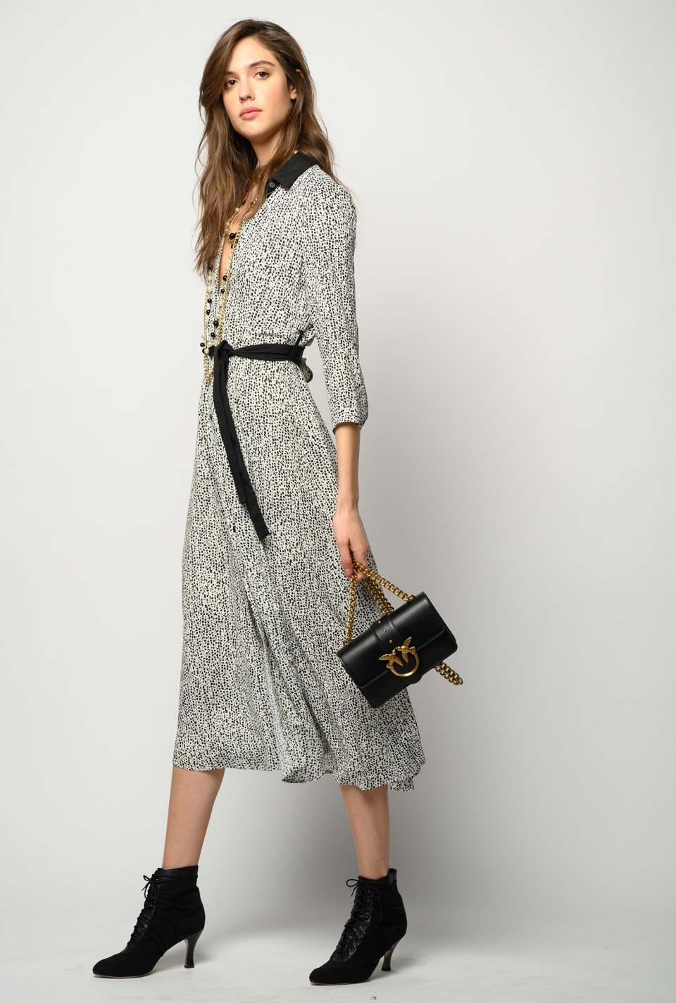 Polka-dot long dress with logo - Pinko