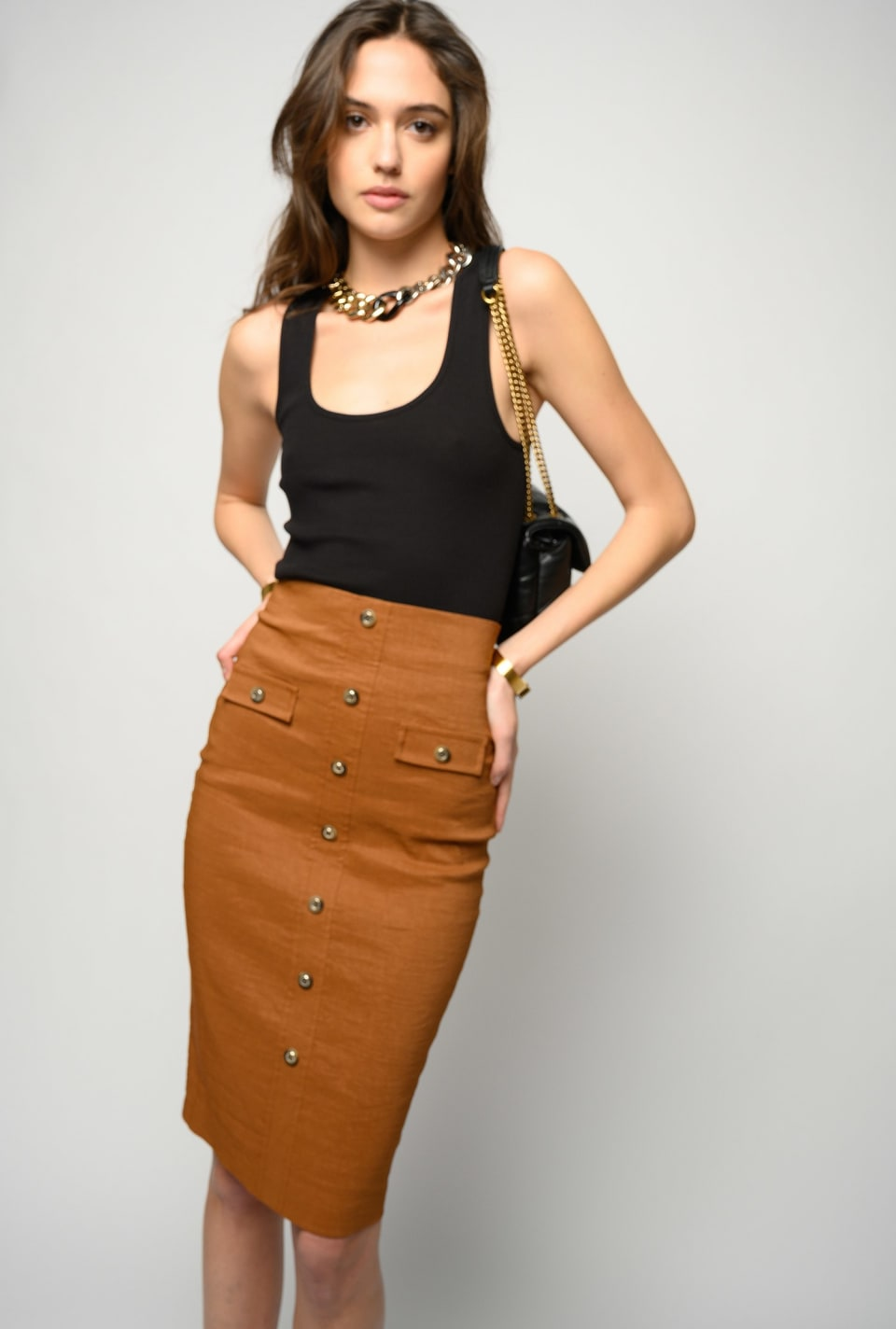 Midi-length skirt in linen cloth - Pinko