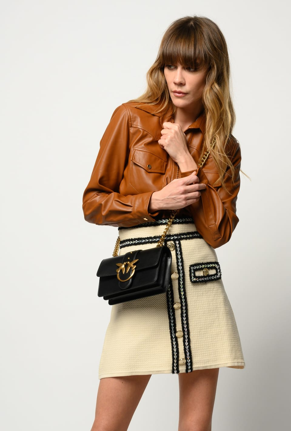 Leather-look shirt with small studs - Pinko