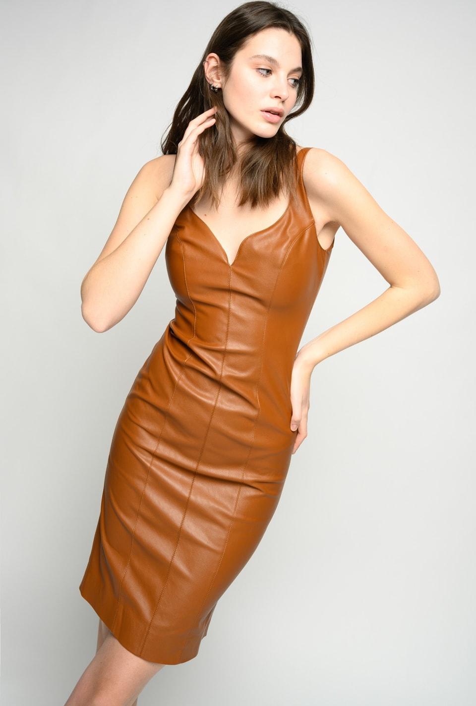 Leather-look sheath dress - Pinko