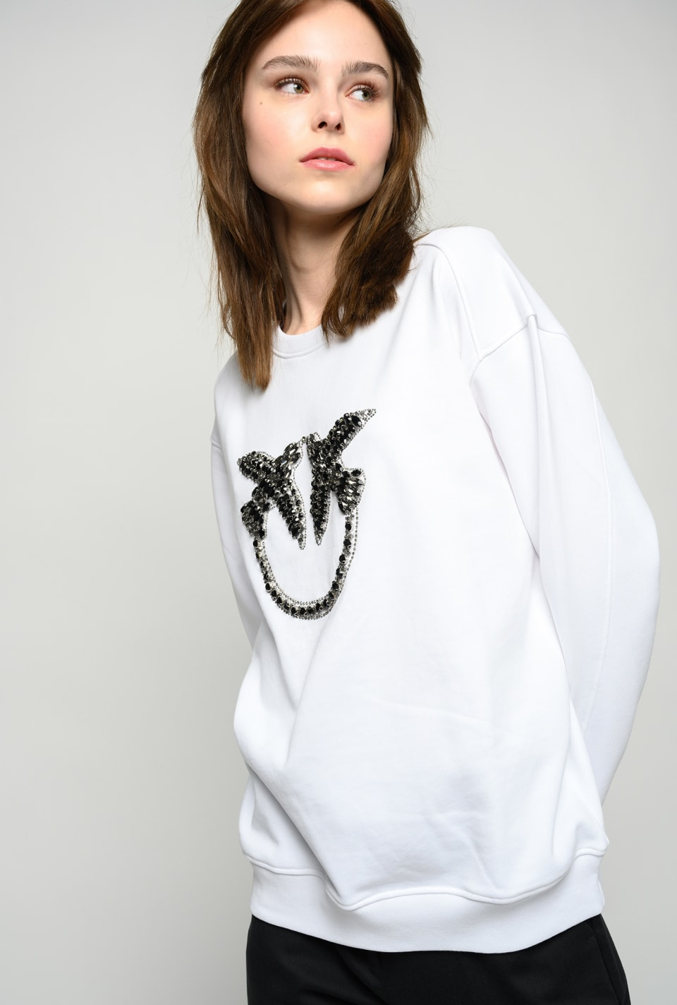 Love Birds embroidery sweatshirt - Pinko