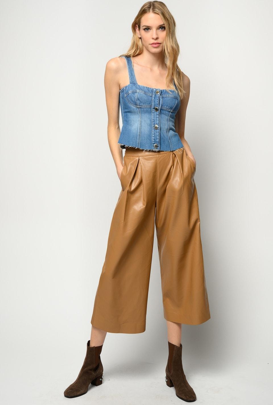 Pantalon large effet cuir - Pinko