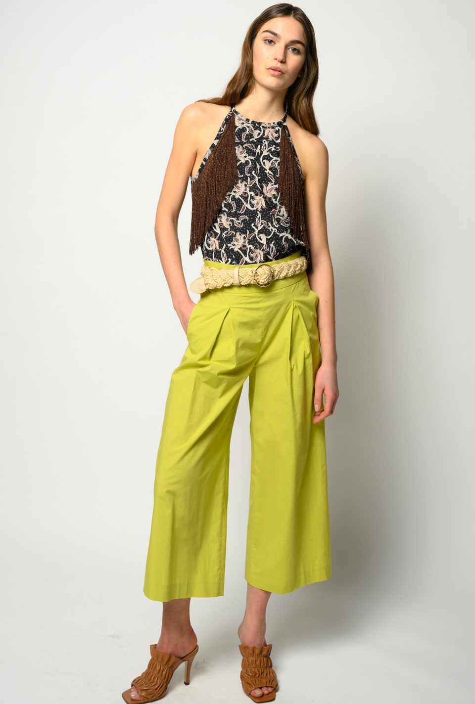 Wide-leg cropped trousers in poplin - Pinko