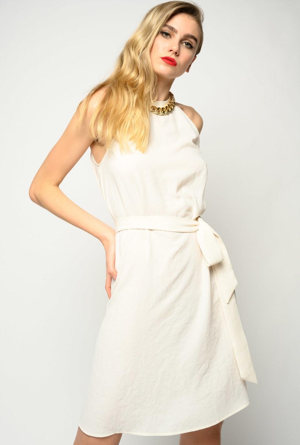 链条装饰挂颈式连衣裙 - Pinko
