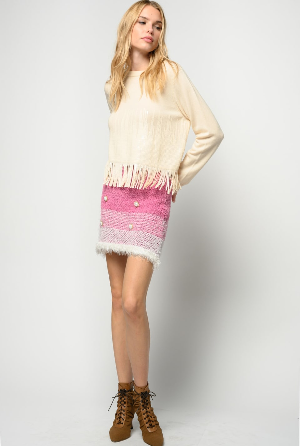 Faded terry-effect miniskirt - Pinko
