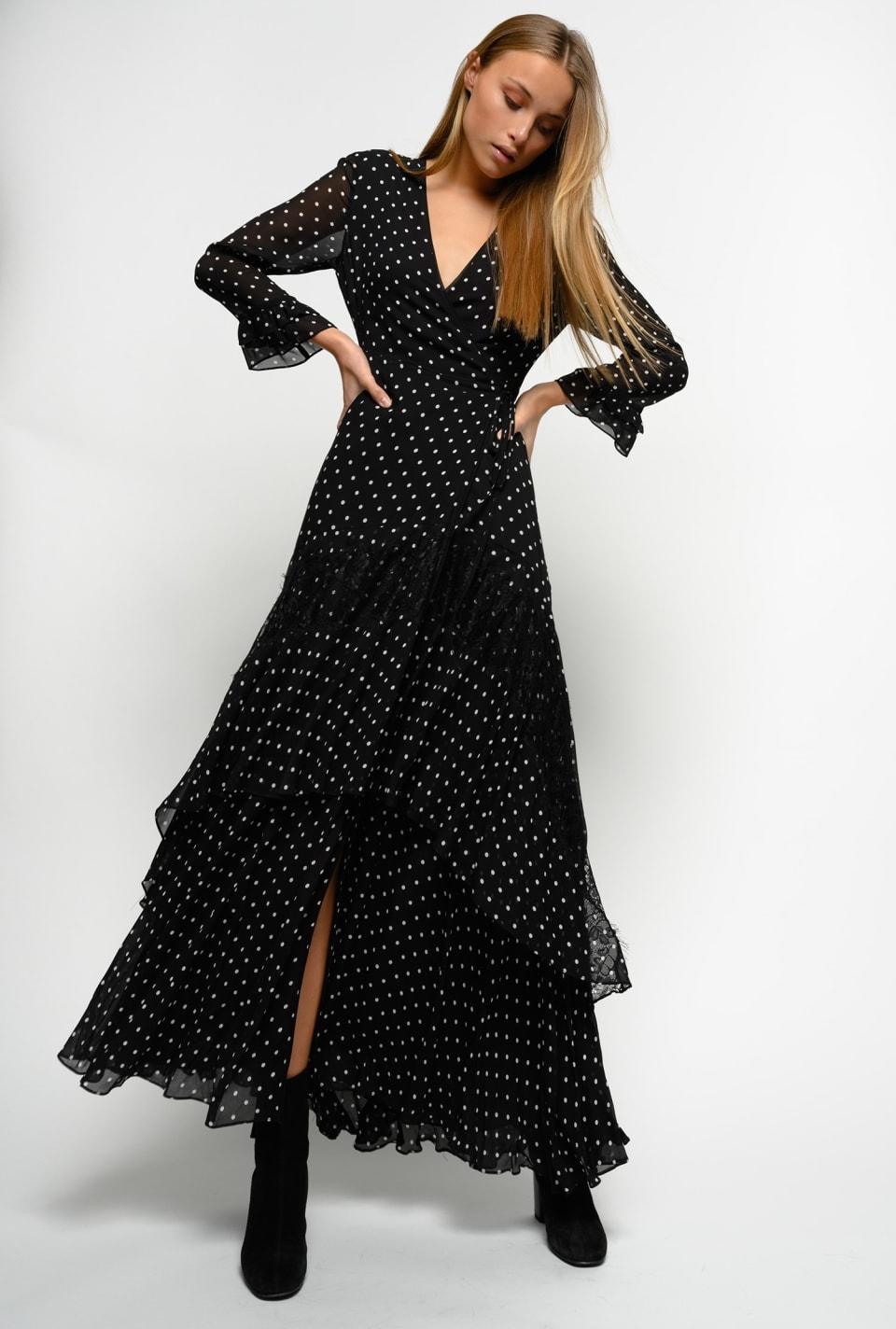 Maxi polka dot dress with flounces - Pinko