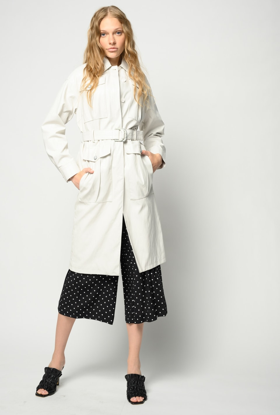 Leather-look trench coat - Pinko