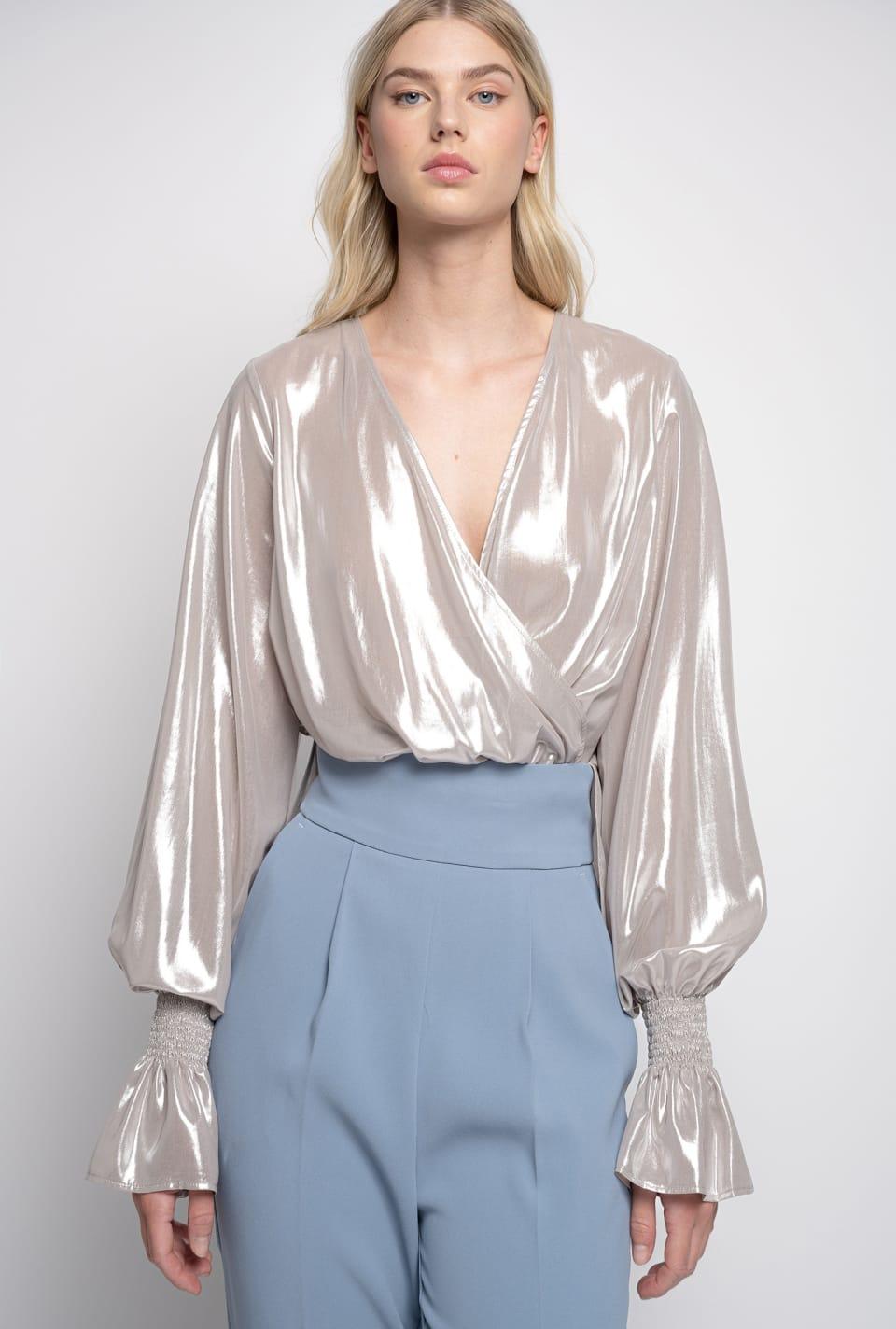 Blusa in georgette laminata - Pinko