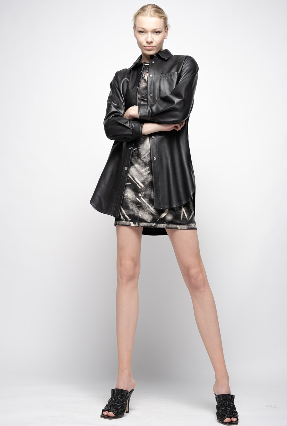 Leather shirt-style jacket - Pinko