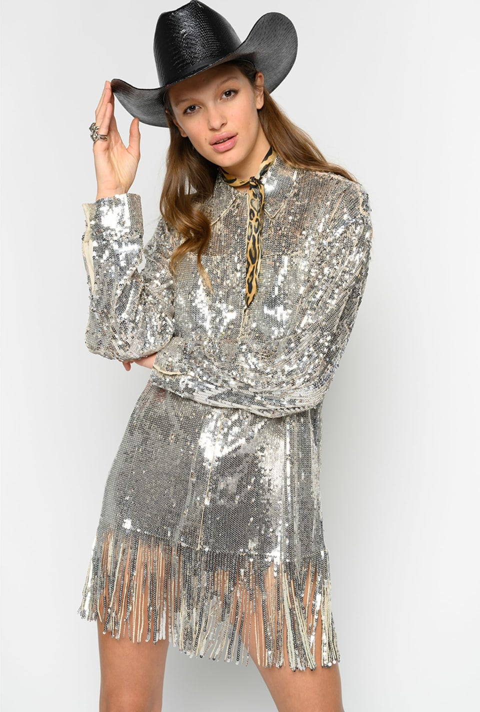 Shirt-style jacket in full sequins - Pinko