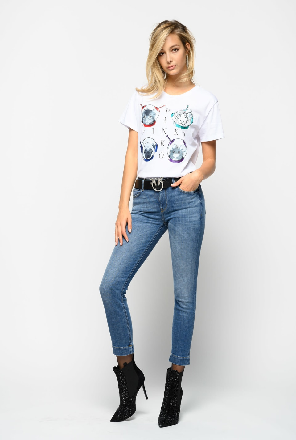 Jean cropped skinny en denim confortable