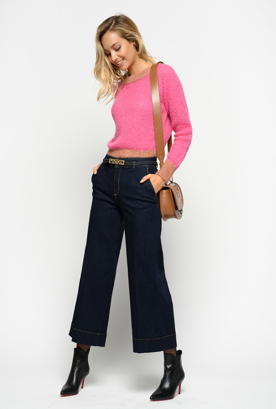 Jean palazzo slim en denim stretch