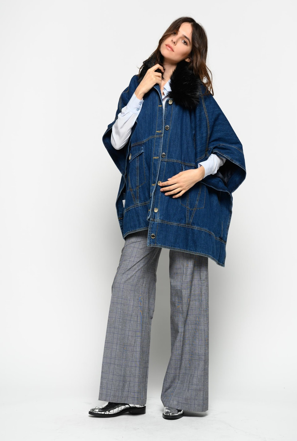 Stiff denim and faux-fur cape
