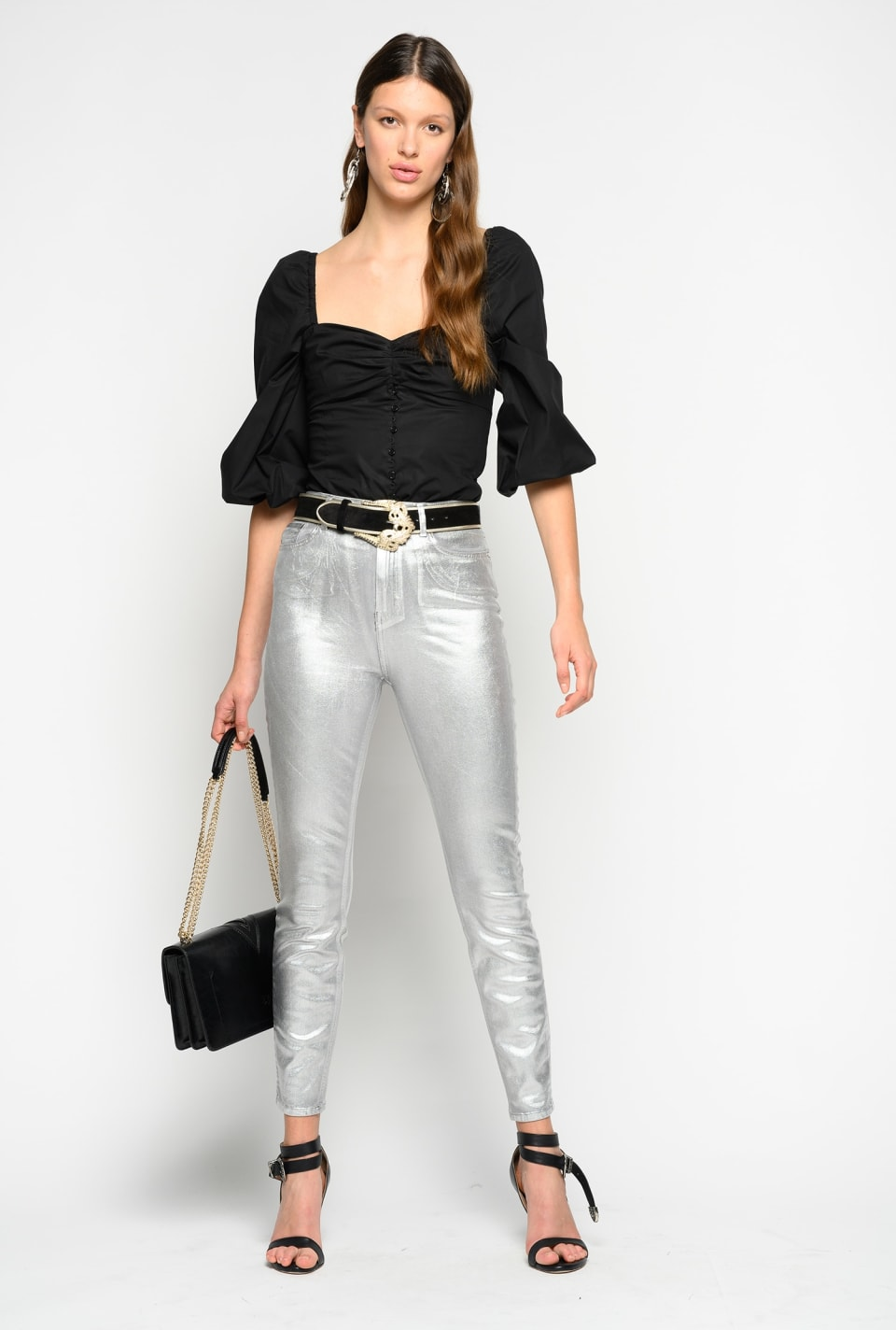 Skinny jeans in black metallic denim
