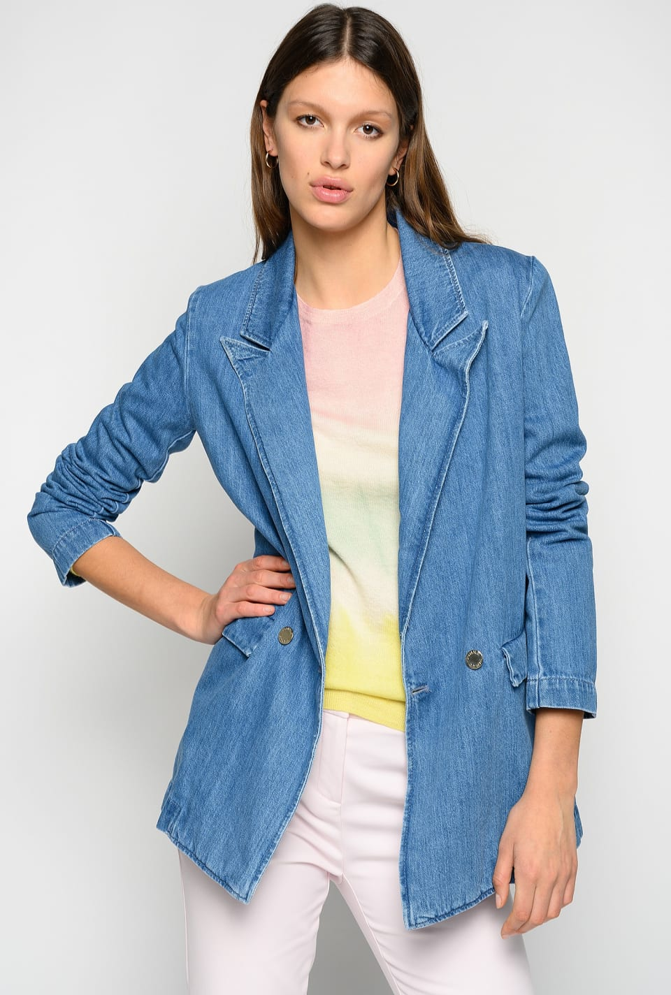 Denim blazer with belt