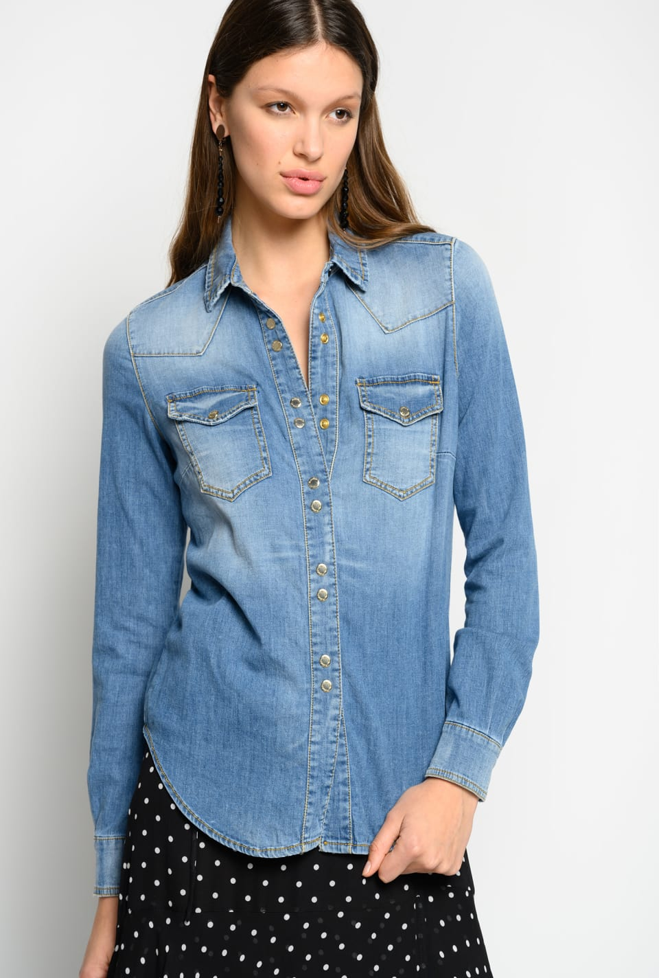 Light stretch denim shirt