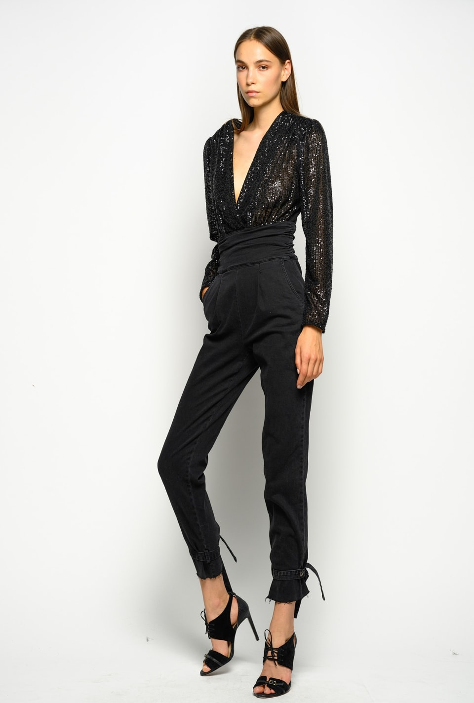 Tuta in comfort denim black e paillettes - Pinko