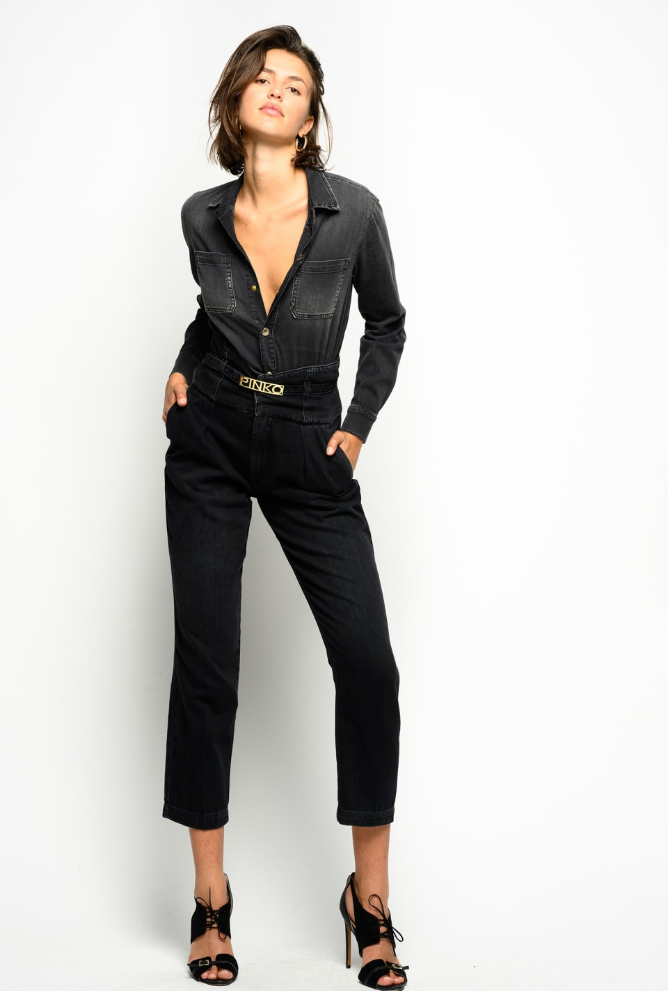 Total black denim jumpsuit