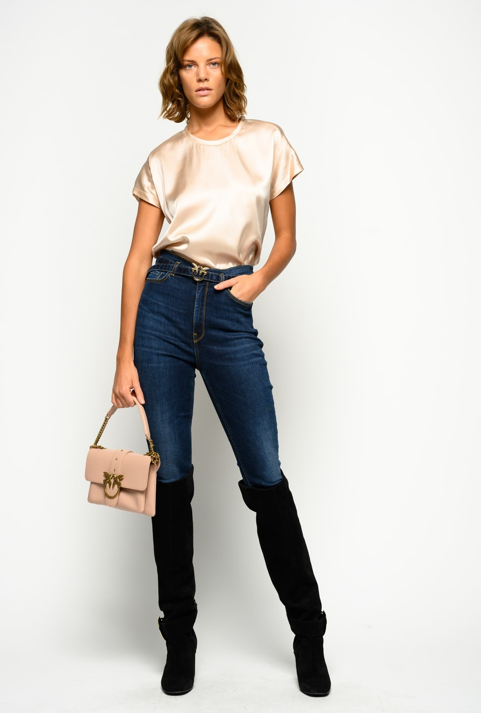 Skinny jeans with Love Birds belt - Pinko