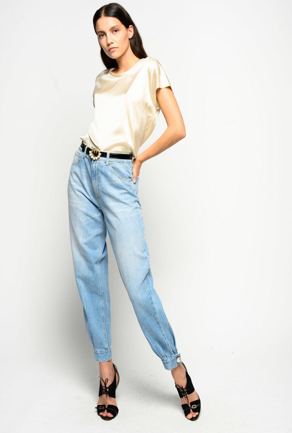 末端珍珠装饰mom-fit裤子 - Pinko