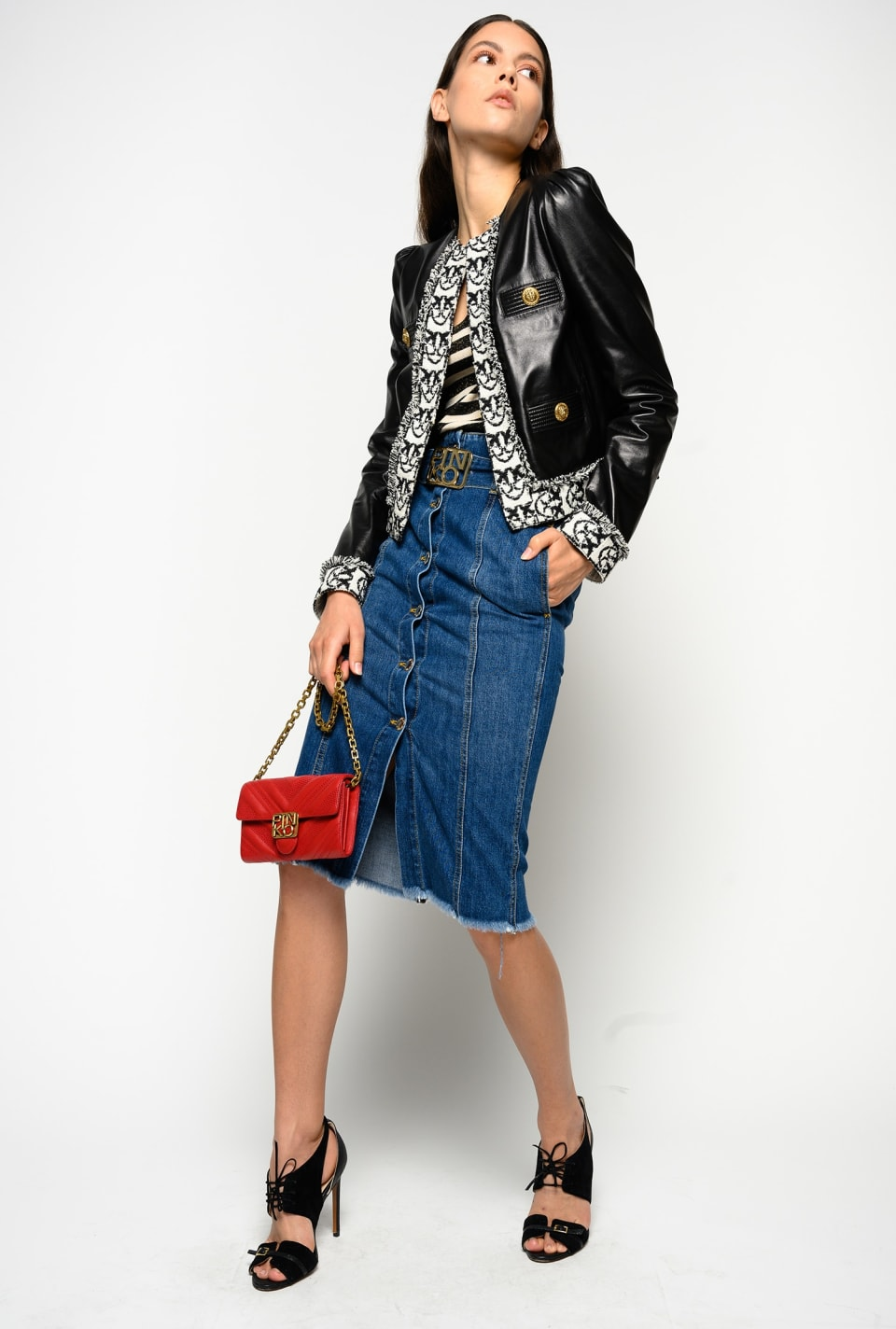 Gonna longuette in denim vintage - Pinko