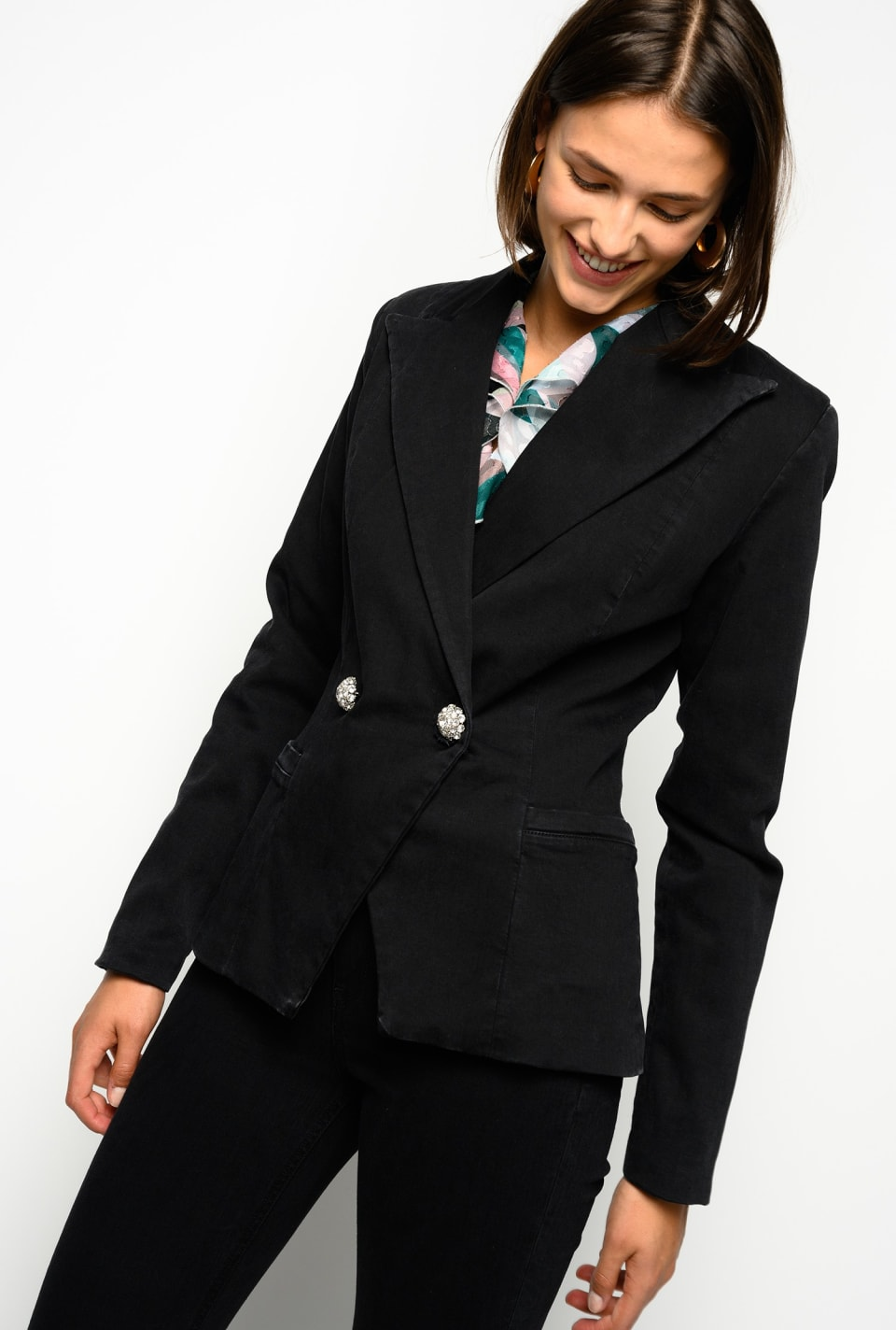 Blazer in black stretch denim - Pinko
