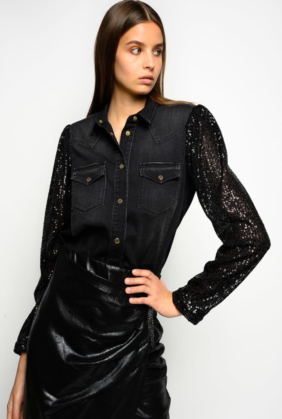 Camisa de denim con mangas de lentejuelas - Pinko